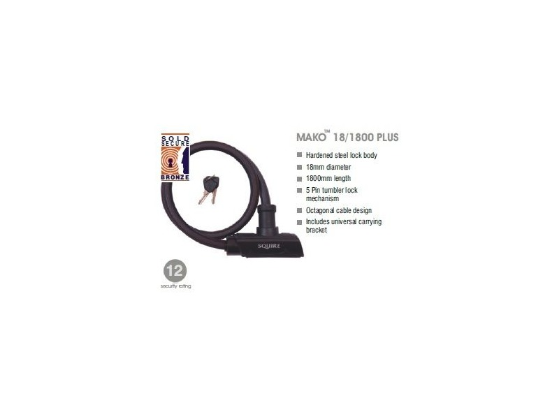 SQUIRE Mako Plus cable lock 18mm x 1800mm click to zoom image
