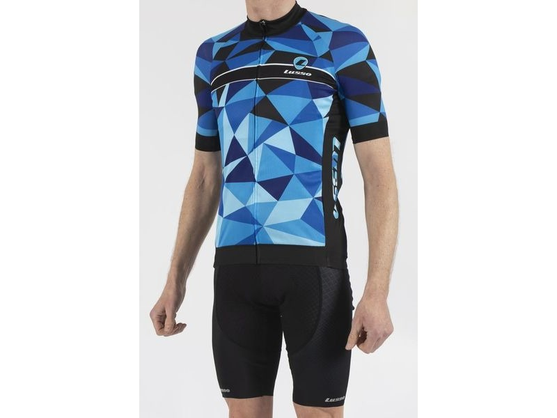 LUSSO Shattered Blue Short Sleeve Jersey click to zoom image